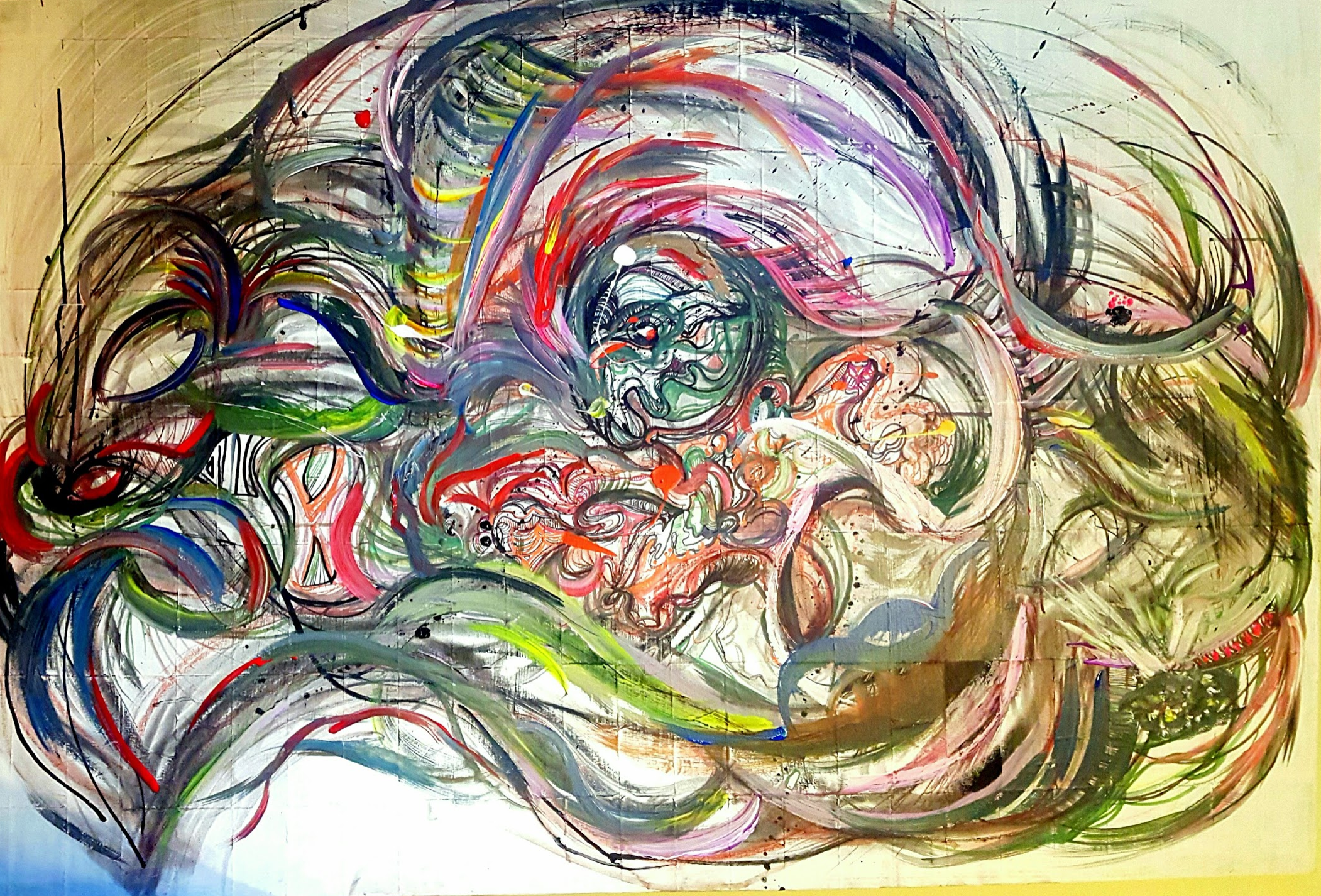 5' 4- X 3' 8- Pen, Ink, Charcoal, Acrylic on Canvas by terkwoize